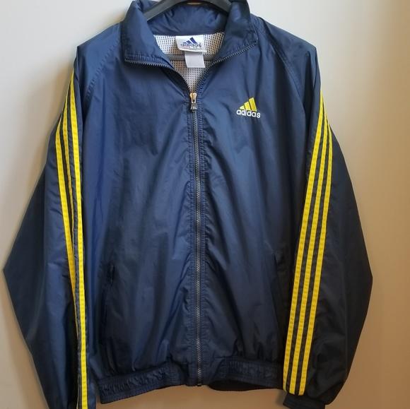 Vintage ADIDAS Sz M * Windbreaker Blue Yellow